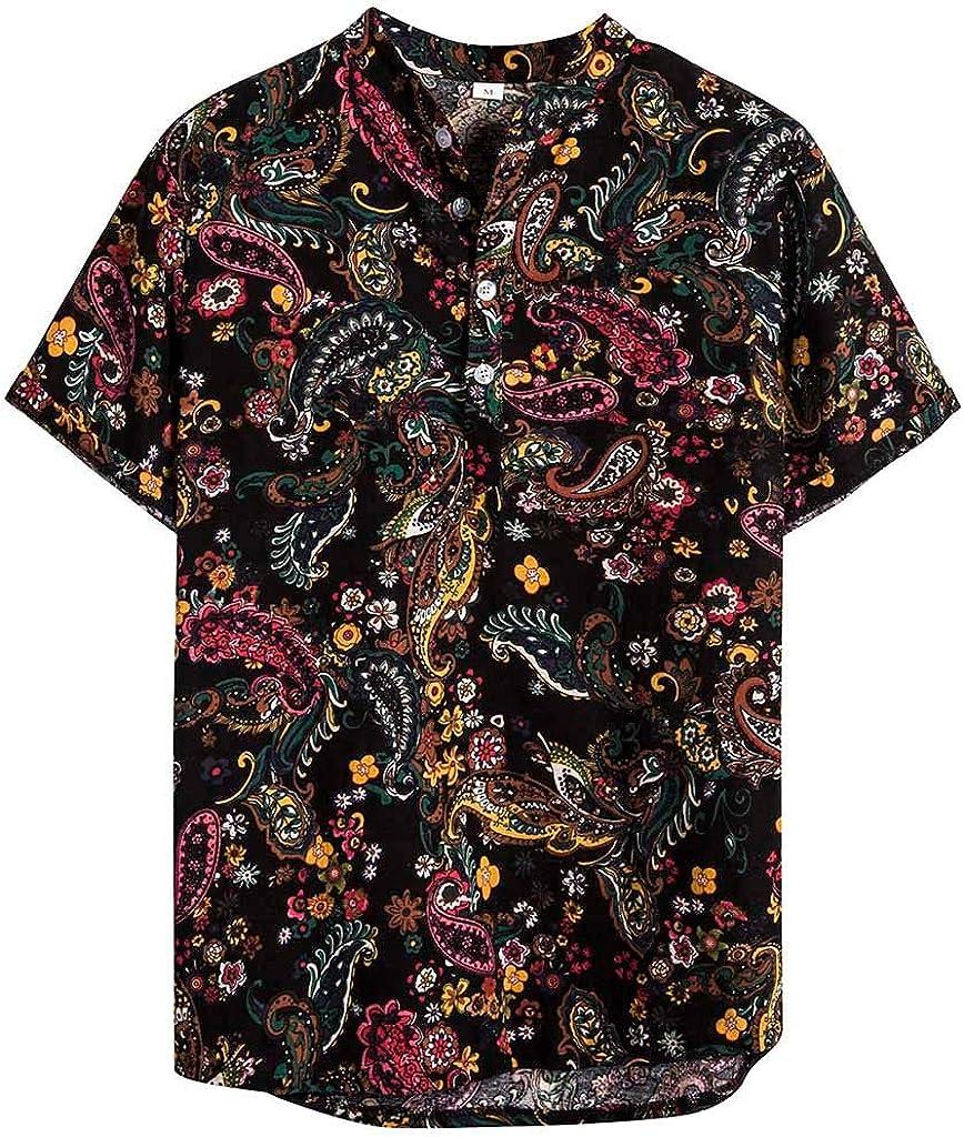 Holzkary Men's Fashion Beach Holiday Casual Print Button Down Short Sleeve Shirt