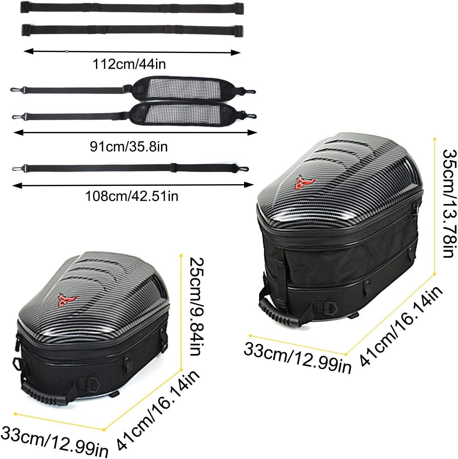 Motorcycle Seat Bag Tail Bag,Dual Use Motorcycle Backpack,ABS Shell Waterproof Luggage Bags,360-degree High-Brightness Reflections Motorbike Helmet Bag