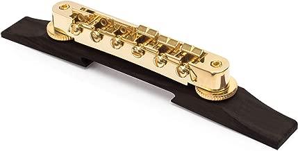 Golden Age Tune-o-matic Bridge For Archtop Guitar, Gold Hardware on Ebony Base