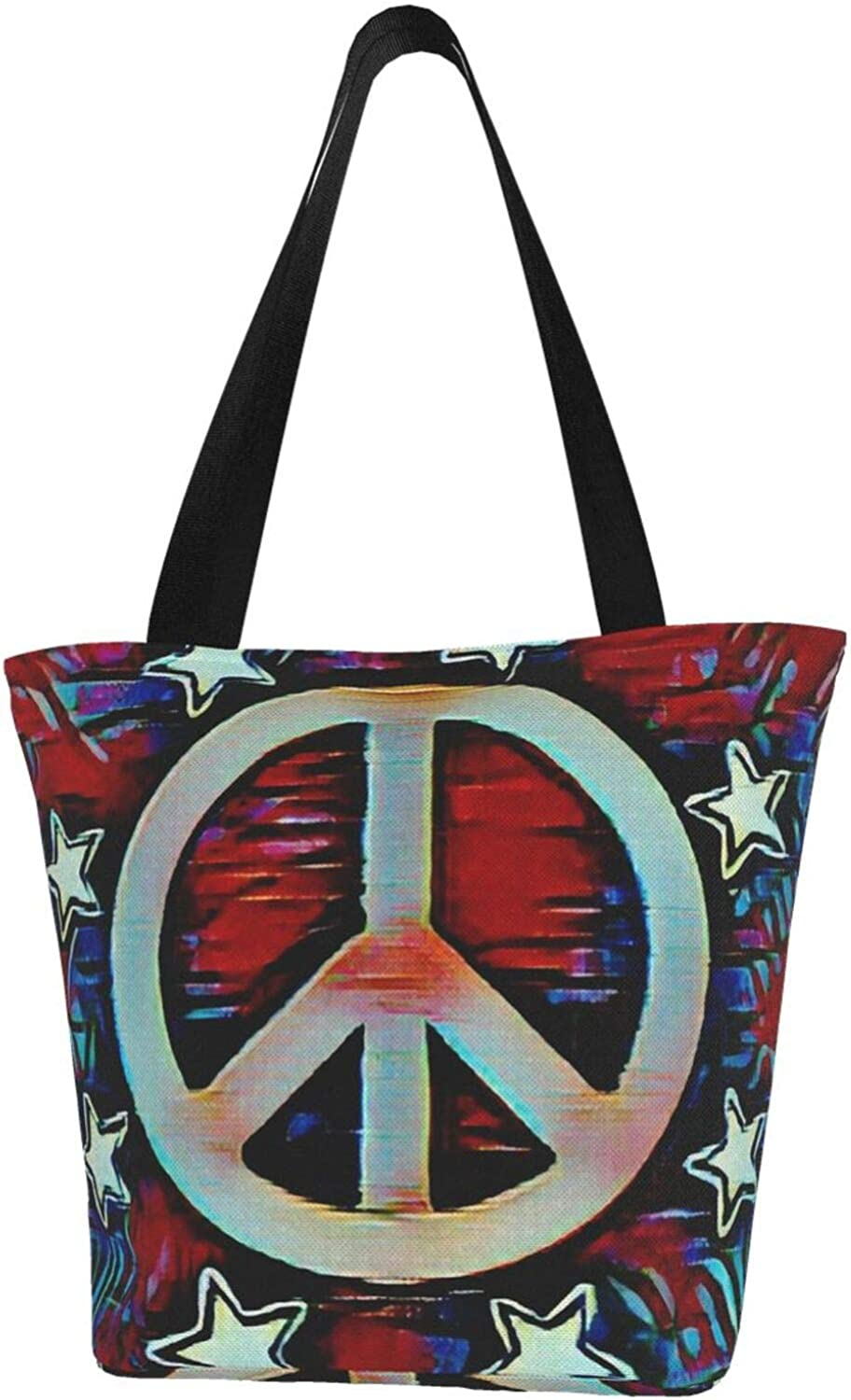 Peace Sign Pentacle Red And Blue Themed Printed Women Canvas Handbag Zipper Shoulder Bag Work Booksbag Tote Purse Leisure Hobo Bag For Shopping