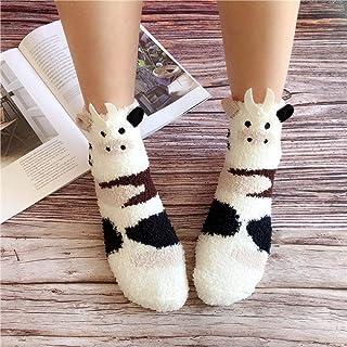 PPJIU, Mujer Calcetines Antideslizantes Térmicos,4 Pares De Calcetines Blancos para El Piso Vaca Animal Print Suave Cálido Invierno Coral Polar Espesar Mullido Calcetín De Punto para Adultos para Niñas
