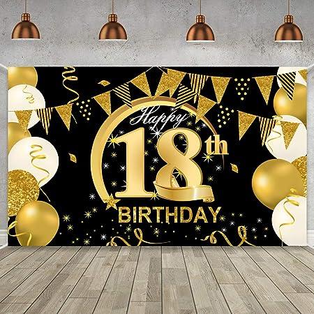WIWJ 18 Decoración de Fiesta de Cumpleaños de Oro Negro, Extra Grande Póster de Tela Cartel para 18 Aniversario Feliz Cumpleaños Pancarta de Fondo Materiales de Fiesta de Cumpleaños
