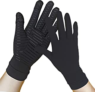 Copper Gloves - Compression Gloves Full Finger - Touch Screen - Relieve Arthritis, Rheumatoid, RSI, Carpal Tunnel, tendonitis Pain for Women and Men (Pair) (S)