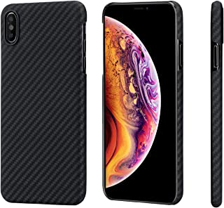 """PITAKA Slim Case Compatible with iPhone Xs Max 6.5"""", MagCase Aramid Fiber [Real Body Armor Material] Phone Case,Minimalist Strongest Durable Snugly Fit Snap-on Case - Black/Grey(Twill)"""