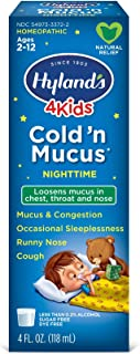 Cold Medicine for Kids Ages 2+ by Hyland's, Nighttime Cold 'n Mucus Relief Liquid, Natural Relief of Mucus & Congestion, R...