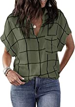 Lente en zomer casual dameskleding geruite bedrukte zak V-hals korte mouwen shirt