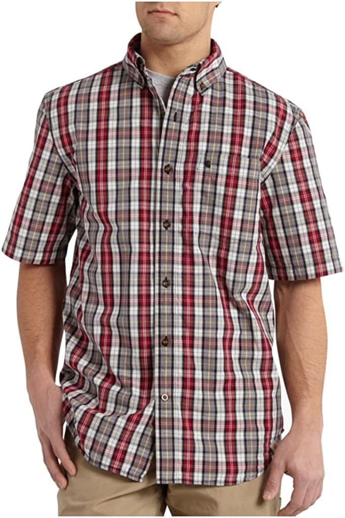 Carhartt Men's Big & Tall Essential Plaid Button Down Short Sleeve Shirt