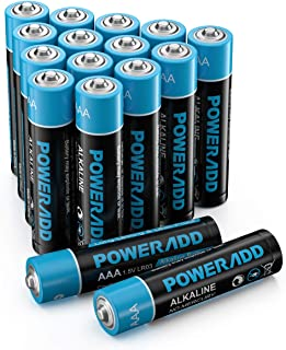 Poweradd Alkaline AAA Batteries, 1.5 V, Long-Lasting & Durability, Performance Triple A Alkaline Batteries, 10-Year Shelf ...