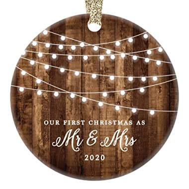 First Christmas as Mr & Mrs Ornament 2020 Rustic 1st Year Married Newlyweds 3  Flat Circle Porcelain Ceramic Ornament w Glossy Glaze, Gold Ribbon & Free Gift Box | OR00300 Delfino