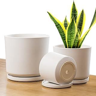 "Vgrow Indoor Planters - 3pcs Set Modern Ceramic Plant Pots with Saucers - Large 24cm (9.5"") Medium 19cm (7.5"") Small 16cn..."