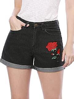 Allegra K Women's High Waisted Rose Embroidery Folded Hem Denim Jean Shorts