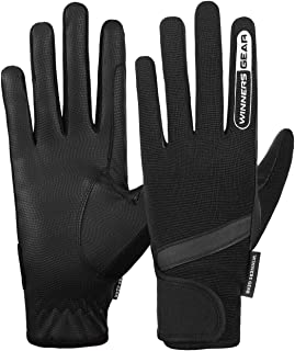 Winners Gear Mens Horse Riding Gloves - 1 Pair of Cotton Gloves / Mittens for Equestrian Riding, Running, Sports, Gardenin...