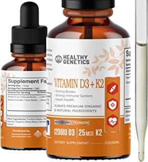 Liquid Vitamin D3 K2 Plus Vitamin K2 MK-7 as Fast Absorb Organic Vitamin D Liquid Drops - VIT D3 K2 MK7 Max Strength Vitam...