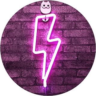 LED Lightning Shape Neon Sign Light Art Decorative Lights Wall Decor for Baby Room Christmas Wedding Party Supplies (Pink neon Lightning)