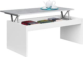 Habitdesign 0L1638A- Mesa de Centro elevable Modelo Zenit mesita Mueble Salon Comedor Acabado en Blanco Artik - Cemento ...