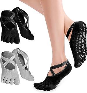 PTN, Calcetines Antideslizantes Para Yoga, 2 Pares Calcetines Antideslizantes con Dedos, Silicona Antideslizante para Barre, Ballet, Danza, Workout, Fitness