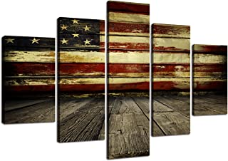 Wooden American Flag Wall Pictures for Living Room USA Canvas Painting Retro US Flag Rustic Wall Decor Modern Artwork 5 Panel Framed Posters Bedroom Giclee Print Gallery Wrap Stretched(60''W x 40''H)