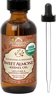 New_US Organic Sweet Almond Kernel Oil, USDA Certified Organic,100% Pure & Natural, Cold Pressed Virgin, Unrefined in Amber Glass Bottle w/Glass Eyedropper for Easy Application (2 oz (56 ml))