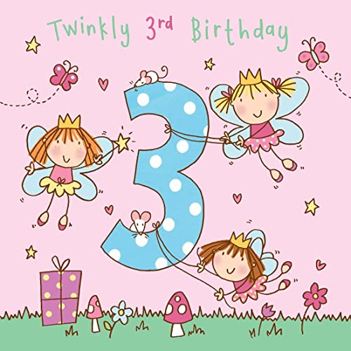Twizler 3rd Birthday Card For Girl With Fairy Princess And Glitter