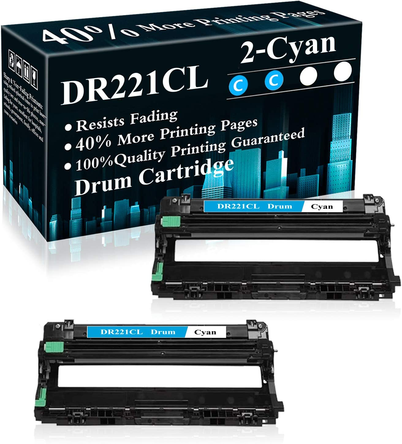 2 Cyan DR221CL Drum Unit Replacement for Brother HL-3140CW 3150CDN 3170CDW 3180CDW 9130CW 9140CDN 9330CDW 9340CDW 9015CDW 9020CDN Printer,Sold by TopInk