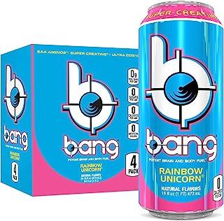 Bang Rainbow Unicorn Energy Drink, 0 Calories, Sugar Free with Super Creatine, 16oz, 4 Count