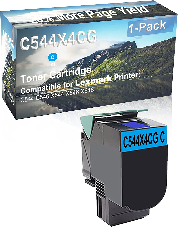 1-Pack (Cyan) Compatible C544 C546 X544 X546 X548 Printer Toner Cartridge High Capacity Replacement for Lexmark C544X4CG Toner Cartridge