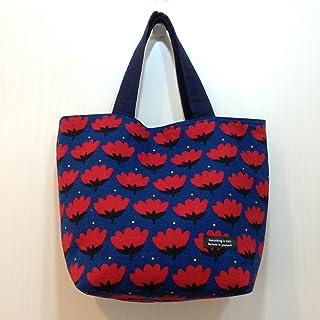 Jam's Ukulele RAM-652 / トートバッグ 紺 ネイビー 花柄 北欧柄 布バッグ ハンドメイド 手作り プレゼント