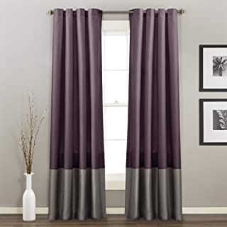 Lush Decor Prima Window Curtains Panel Set for Living, Dining Room, Bedroom (Pair), 54-inch x 84-inch, Gray/Purple
