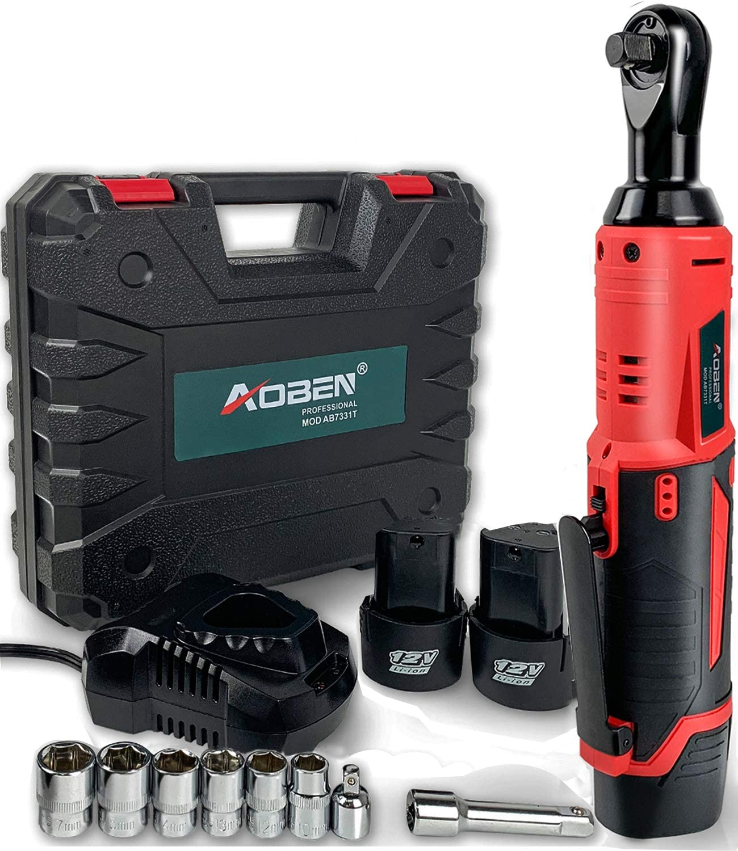 AOBEN 5808 12V Cordless Electric Ratchet Wrench Kit 3/8-Inch