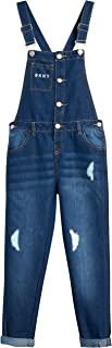 DKNY Girls' Overalls – Stretch Denim Cuffed Jeans Overalls with Adjustable Straps