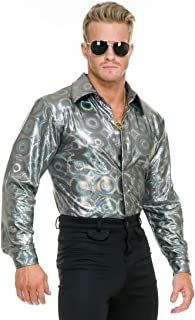 Charades Men's Silver Hologram Costume Disco Shirt