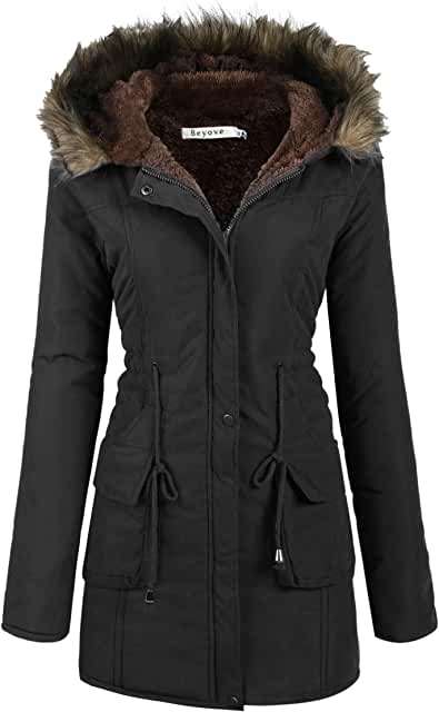 Womens Hooded Warm Winter Coats with Faux Fur Lined Outerwear Jacket