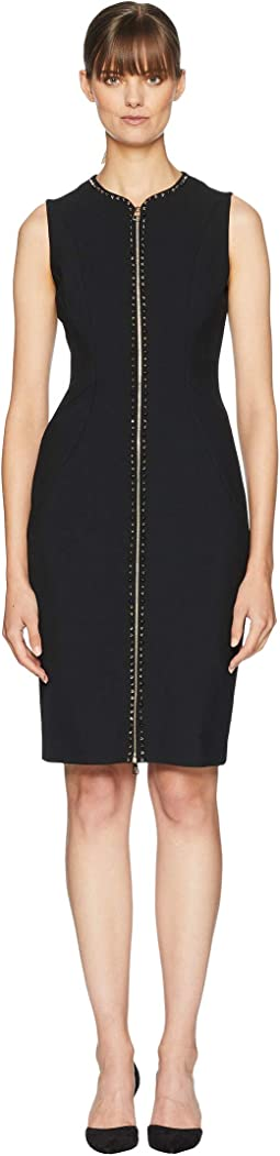 Woven Studs Front Zip Dress