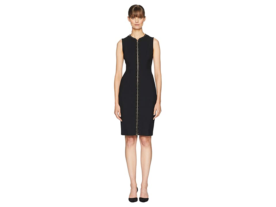 Versace Collection Woven Studs Front Zip Dress (Black) Women