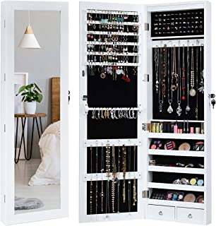 Giantex Door Wall Jewelry Cabinet Armoire Mounted with 15 LED, Lockable Auto-on Lights 1 Scarf Rod 29 Hooks 60 Ring Slots Large Storage Capacity, Bedroom Jewelry Cabinets Armoires, White