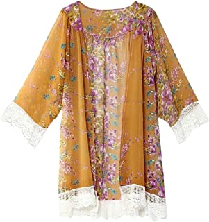 Womens Summer Printing Kimono Chiffon Floral Lace Loose Fit Bikini Cardigan Coverups