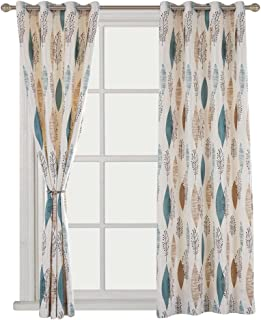 Cherry Home Multicolored Leaf Curtains Print Floral Leaves Blackout Lined Curtain Pair..