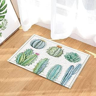 Prickly Pear Cactus Decor Watercolor Succulent with Saguaro Cactus Flower Bath Rugs Non-Slip Doormat Floor Entryways Indoor Front Door Mat Kids Bath Mat 15.7x23.6in Bathroom Accessories
