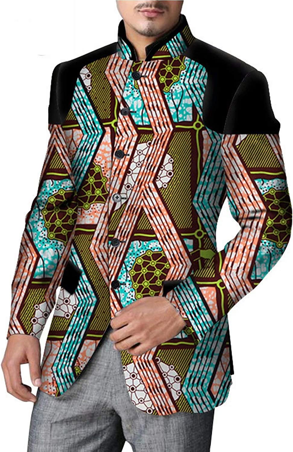 iooiooi Mens Suit Jacket Floral Printed Two Button Casual Blazer Sports Coat