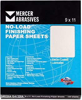 "Mercer Industries 240320C Grit 320 C-Weight 9"" x 11"" Silicon Carbide No-Load Finishing Paper Sheets (100-Pack)"