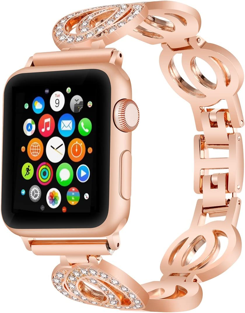 VOMA Bling Bands Compatible for Apple Watch Band 38mm 40mm iWatch Series 5/4/3/2/1, Diamond Rhinestone Stainless Steel Metal Jewelry Bracelet Bangle Wristband Strap(Classic Rose Gold 38mm 40mm)