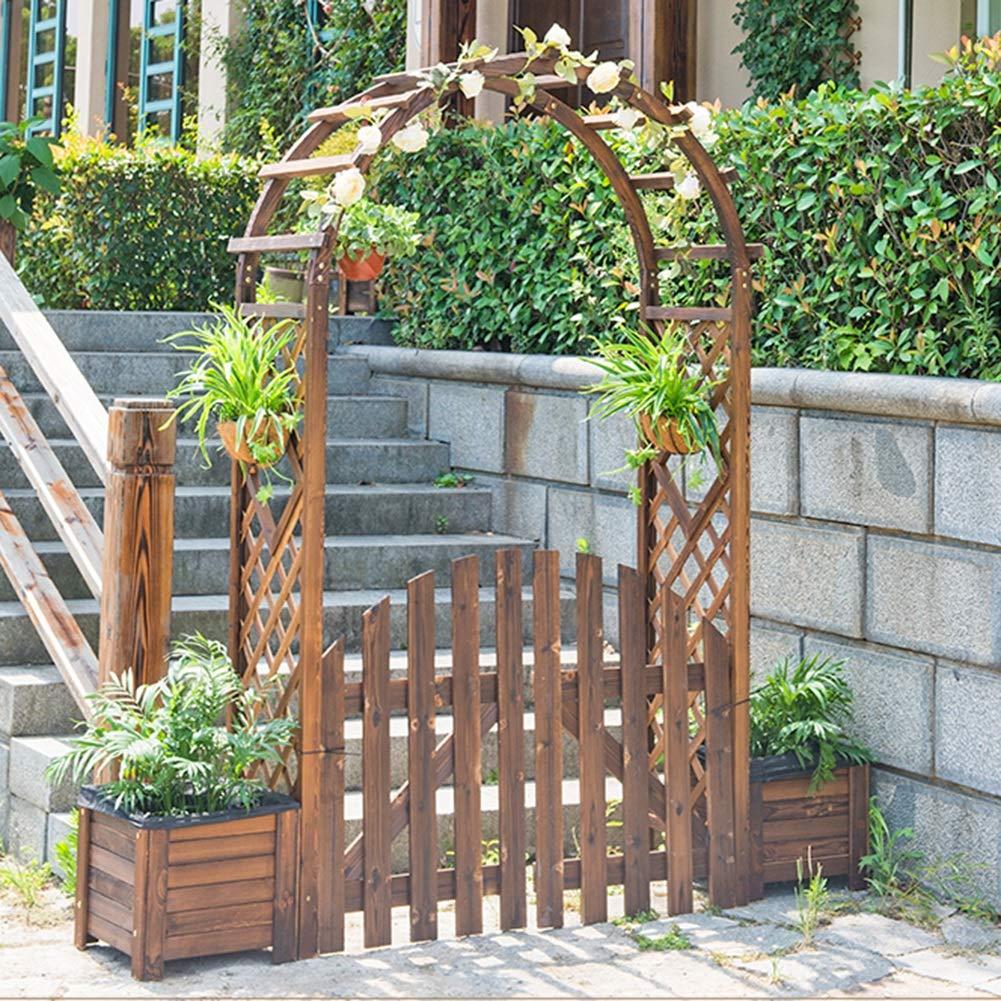 YYFANG Valla Madera Jardín Valla Pequeña Puerta Decorativa Protector Solar Impermeable Proceso De Carbonización A Alta Temperatura Conexión De Bisagra, 2 Tamaños (Color : Brown, Size : 130x120cm): Amazon.es: Hogar