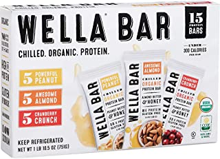 Wella Organic Chilled Protein Bars, Variety Pack, 15Count