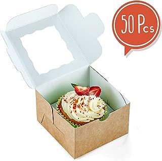 {50 pcs} Kraft individual single cupcake boxes 4x4x2.5