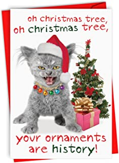 12 Boxed 'Your Ornaments are History' Christmas Cards with Envelopes 4.63 x 6.75 inch, Merry Christmas Kitty Cat and Christmas Tree Holiday Notes, Frisky Feline with Christmas Decor B1978