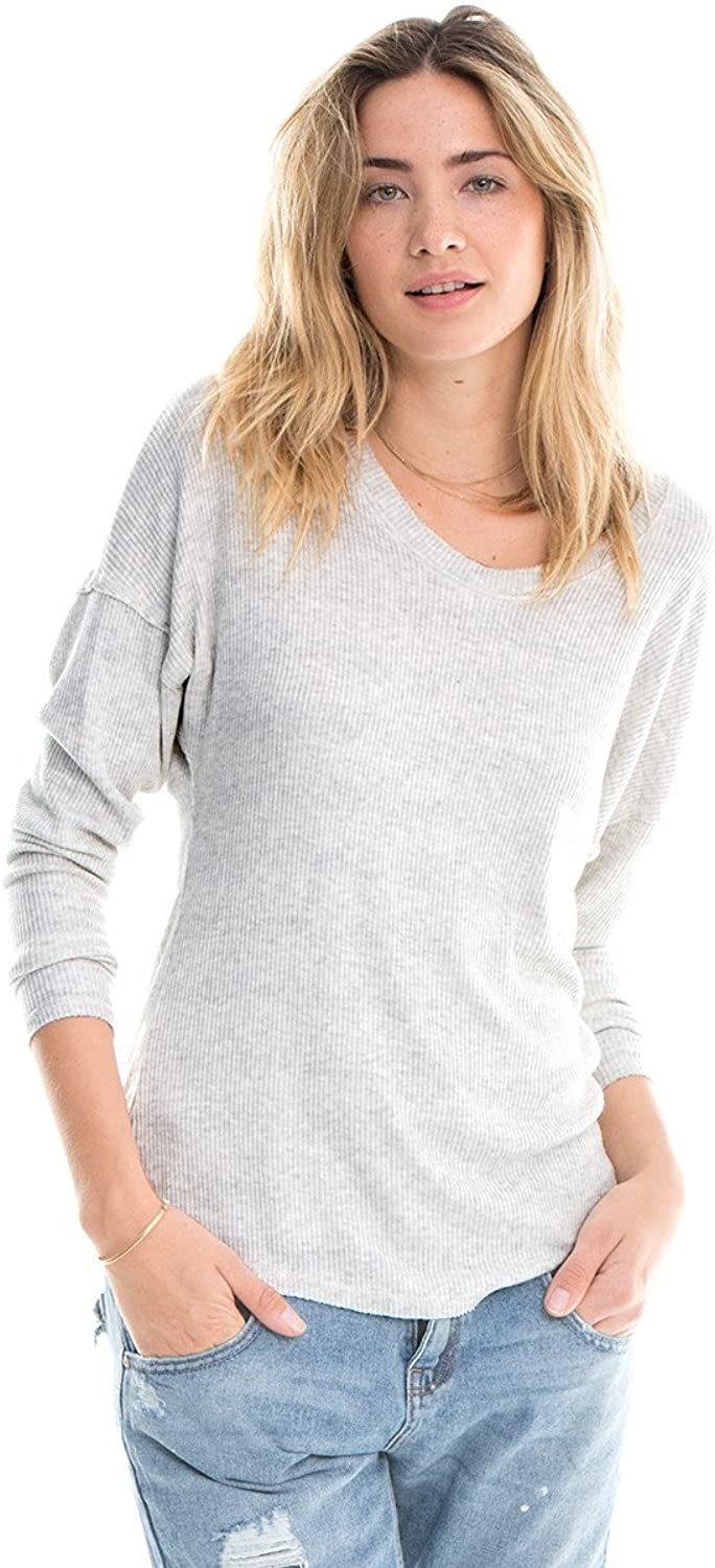 Nation LTD Women's Long Sleeve Ribbed Drew Top Grey