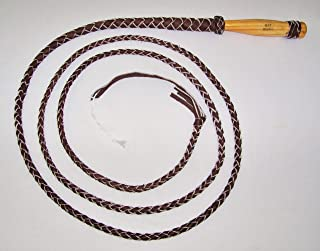 10 Foot 4 Plait Dark Brown Real Leather Bull Whip Wooden Swivel Handle
