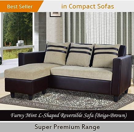 Furny Mint L-Shaped Reversible Sofa (Beige-Brown)