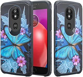 For Motorola Moto E5 Plus Case, Moto E5 Supra Case Phonelicious Slim Fit Phone Cover Shock Proof Defender Protective with Screen Protector (Blue Butterfly)