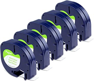 Aken Ruban compatible pour Dymo LetraTag Papier Ruban 12mm x 4m Noir sur Blanc, Recharge pour Dymo Étiqueteuse LT-100H LT-...